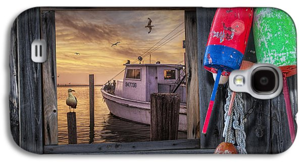 Bouys Galaxy S4 Cases - Fishing Boat Harbor Sunrise Galaxy S4 Case by Randall Nyhof