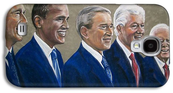 Bill Clinton Galaxy S4 Cases - Five living presidents 2009 Galaxy S4 Case by Martha Suhocke