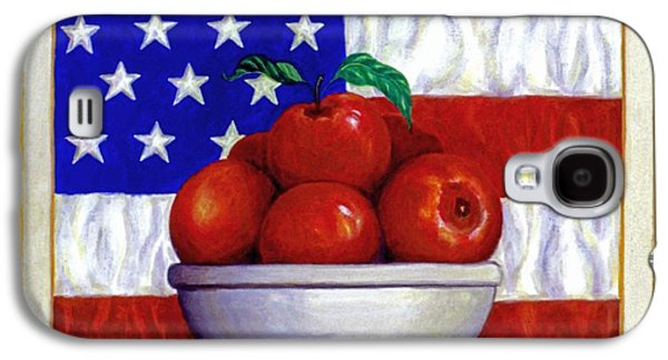 4th July Paintings Galaxy S4 Cases - Flag and Apples Galaxy S4 Case by Linda Mears