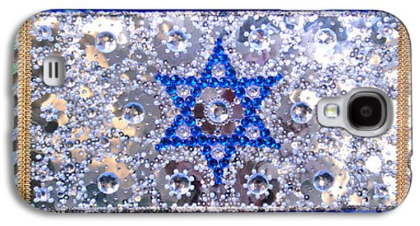 Beadwork Jewelry Galaxy S4 Cases - Flag of Israel. Beadwork embroidery with crystals Galaxy S4 Case by Sofia Metal Queen
