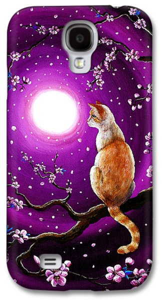Cherry Blossoms Galaxy S4 Cases - Flame Point Siamese Cat in Dancing Cherry Blossoms Galaxy S4 Case by Laura Iverson
