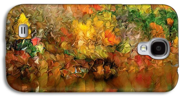 Abstract Digital Mixed Media Galaxy S4 Cases - Flaming Autumn Abstract Galaxy S4 Case by Georgiana Romanovna