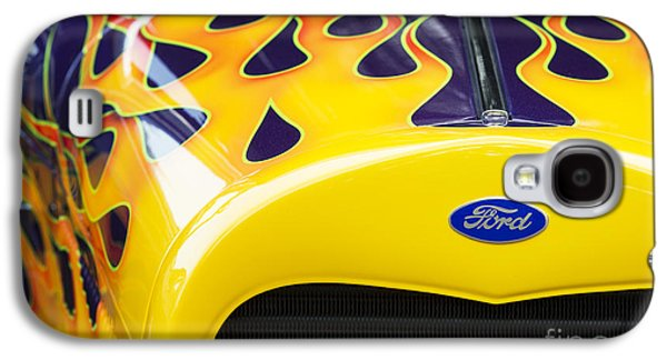 Airbrush Galaxy S4 Cases - Flaming Hot Rod Galaxy S4 Case by Tim Gainey
