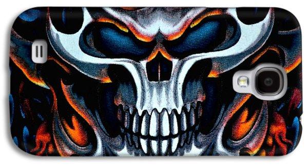 Creepy Galaxy S4 Cases - Flaming Skull Galaxy S4 Case by Deena Stoddard