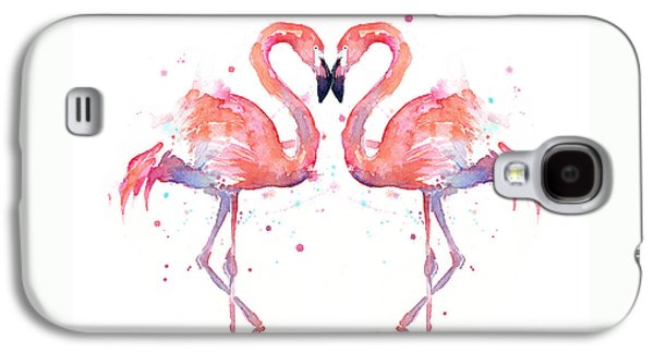 Illustration Paintings Galaxy S4 Cases - Flamingo Love Watercolor Galaxy S4 Case by Olga Shvartsur