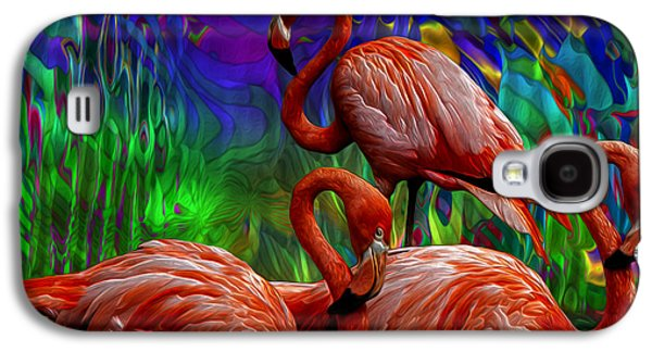 Abstract Digital Art Galaxy S4 Cases - Flamingo Trio II Galaxy S4 Case by Jack Zulli