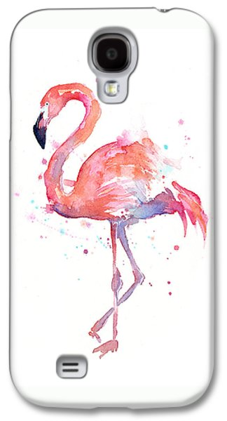 Print Mixed Media Galaxy S4 Cases - Flamingo Watercolor Galaxy S4 Case by Olga Shvartsur