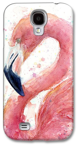 Drawing Galaxy S4 Cases - Flamingo Watercolor Painting Galaxy S4 Case by Olga Shvartsur