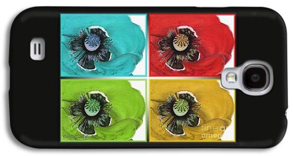 Digital Fine Pastels Galaxy S4 Cases - Flanders Poppy Pop Art Galaxy S4 Case by J McCombie