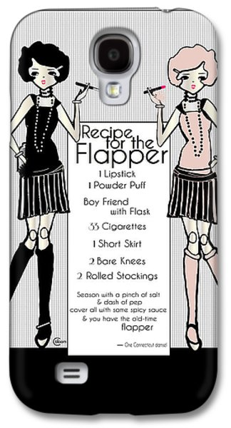 Sisters Drawings Galaxy S4 Cases - Flapper Girl 1920s Recipe Gatsby Girl with 2 flappers Galaxy S4 Case by Cecely Bloom