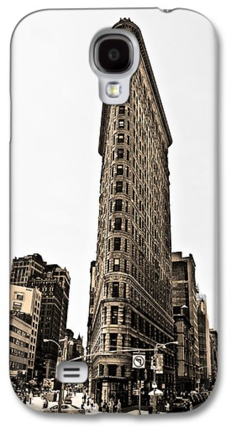 Flat Iron Galaxy S4 Cases - Flat Iron Building in Sepia Galaxy S4 Case by Bill Cannon