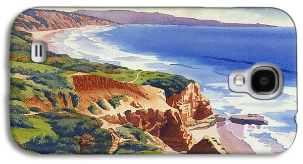 Pine Paintings Galaxy S4 Cases - Flat Rock and Bluffs at Torrey Pines Galaxy S4 Case by Mary Helmreich