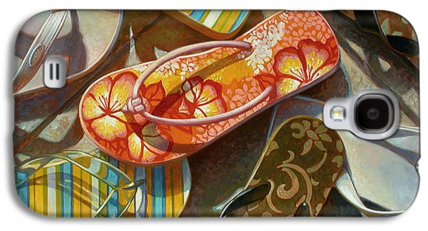 Still Life Mixed Media Galaxy S4 Cases - Flip Flops Galaxy S4 Case by Mia Tavonatti