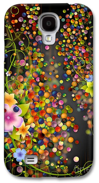 Abstract Digital Mixed Media Galaxy S4 Cases - Floating Fragrances - Black Version Galaxy S4 Case by Bedros Awak