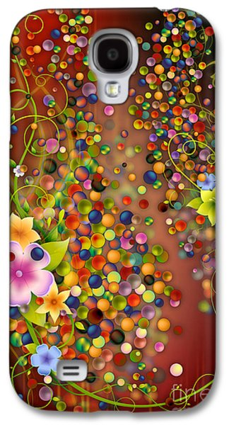 Abstract Digital Mixed Media Galaxy S4 Cases - Floating Fragrances - Red Version Galaxy S4 Case by Bedros Awak