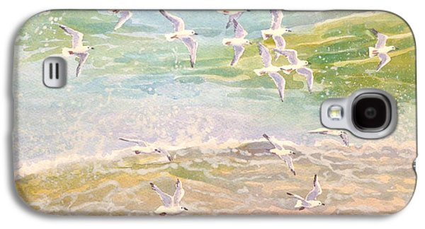 Flock Of Birds Paintings Galaxy S4 Cases - Flock of Seagulls flying over waves Galaxy S4 Case by Gill Bustamante