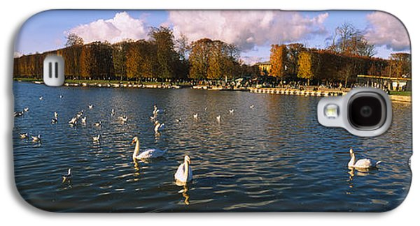 Garden Scene Galaxy S4 Cases - Flock Of Swans Swimming In A Lake Galaxy S4 Case by Panoramic Images