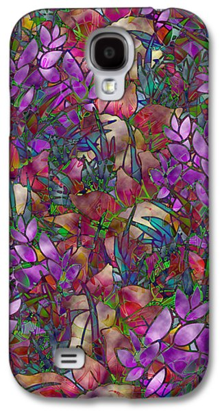 Abstract Digital Art Glass Art Galaxy S4 Cases - Floral Abstract Stained Glass Galaxy S4 Case by Medusa GraphicArt