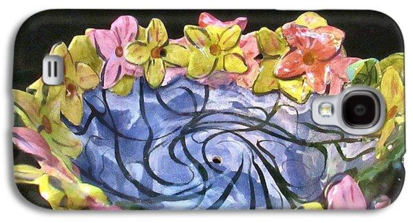 Bird Ceramics Galaxy S4 Cases - Floral  Bird Feeder Photo Galaxy S4 Case by Martha Nelson