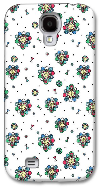 Folk Photographs Galaxy S4 Cases - Floral Folk Repeat Print Galaxy S4 Case by Susan Claire
