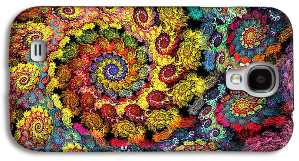 Abstract Digital Digital Art Galaxy S4 Cases - Floral Spiral Galaxy S4 Case by Peggi Wolfe
