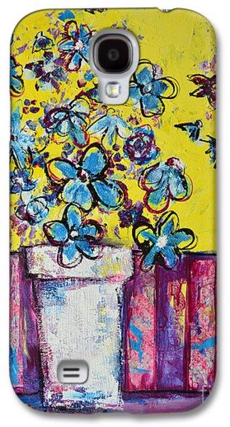 Interior Still Life Mixed Media Galaxy S4 Cases - Floral Still Life Blue Hues Galaxy S4 Case by Patricia Awapara