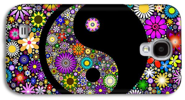 Yang Galaxy S4 Cases - Floral Yin Yang Galaxy S4 Case by Tim Gainey