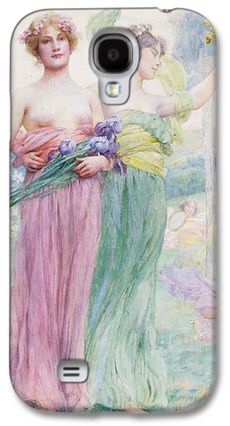 Women Together Paintings Galaxy S4 Cases - Floreal Galaxy S4 Case by Henry Siddons Mowbray