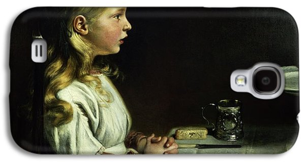 Anticipation Photographs Galaxy S4 Cases - Florence Cope Saying Grace At Dinnertime Galaxy S4 Case by Charles West Cope