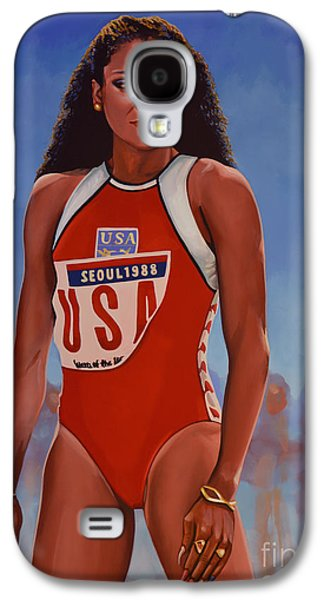 Usa Paintings Galaxy S4 Cases - Florence Griffith - Joyner Galaxy S4 Case by Paul Meijering