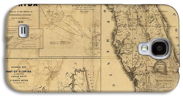 Old Map Digital Galaxy S4 Cases - Florida Map Art - Vintage Antique map of Florida Galaxy S4 Case by World Art Prints And Designs
