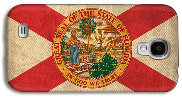 Universities Mixed Media Galaxy S4 Cases - Florida State Flag Art on Worn Canvas Galaxy S4 Case by Design Turnpike