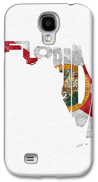 Colorful Abstract Pastels Galaxy S4 Cases - Florida Typographic Map Flag Galaxy S4 Case by Ayse Deniz