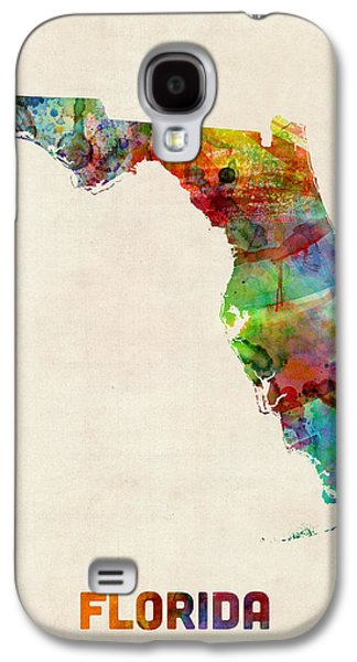 Cartography Digital Art Galaxy S4 Cases - Florida Watercolor Map Galaxy S4 Case by Michael Tompsett
