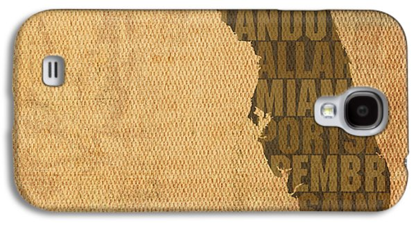 Florida Word Art State Map On Canvas Galaxy S4 Case by Design Turnpike
