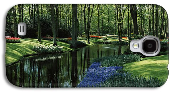 Garden Scene Galaxy S4 Cases - Flower Beds And Trees In Keukenhof Galaxy S4 Case by Panoramic Images