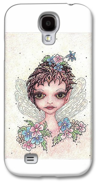 Flower Pink Fairy Child Drawings Galaxy S4 Cases - Flower Fairy Galaxy S4 Case by Karen Zemanek