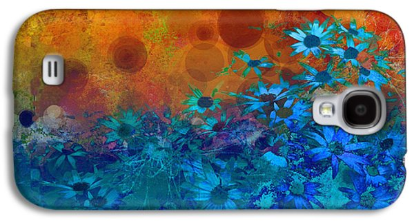 Floral Digital Digital Galaxy S4 Cases - Flower Fantasy in Blue and Orange  Galaxy S4 Case by Ann Powell