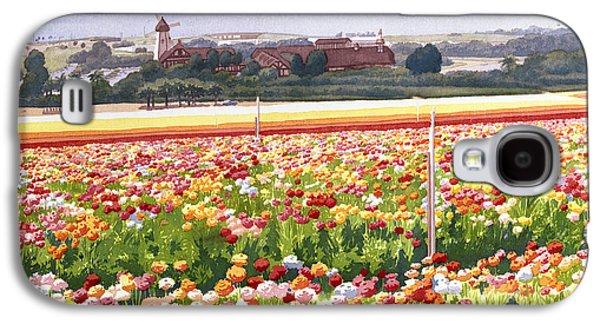 Windmill Galaxy S4 Cases - Flower Fields in Carlsbad 1992 Galaxy S4 Case by Mary Helmreich