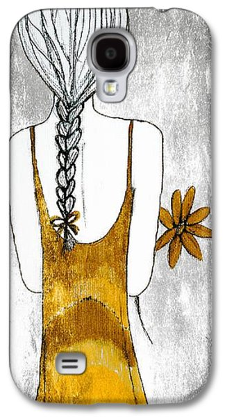 Youthful Drawings Galaxy S4 Cases - Flower Girl 2 Galaxy S4 Case by Anne Costello