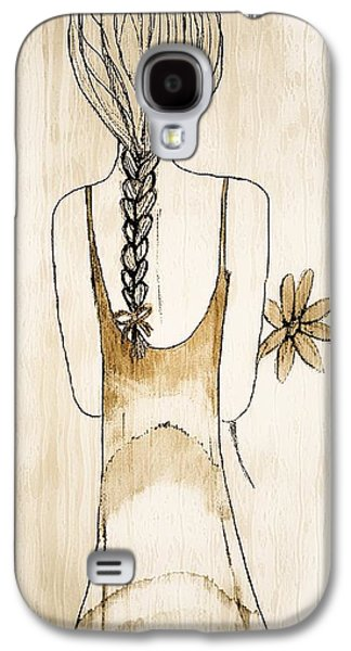 Youthful Drawings Galaxy S4 Cases - Flower Girl 3 Galaxy S4 Case by Anne Costello