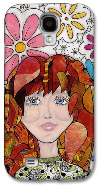 Abstract Collage Drawings Galaxy S4 Cases - Flower girl Galaxy S4 Case by Paula Dickerhoff