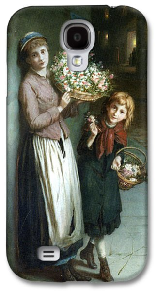 Long Street Digital Art Galaxy S4 Cases - Flower Girls a Summer Night Galaxy S4 Case by Augustus Edwin Mulready
