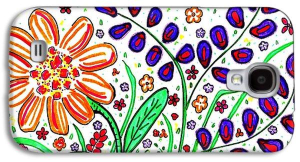 Joyful Drawings Galaxy S4 Cases - Flower Joy Galaxy S4 Case by Sarah Loft