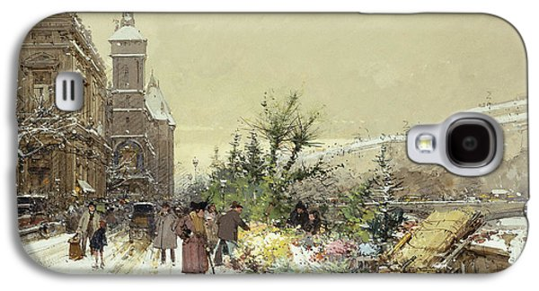 Commerce Galaxy S4 Cases - Flower Market Marche aux Fleurs Galaxy S4 Case by Eugene Galien-Laloue