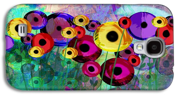 Digital Collage Galaxy S4 Cases - Flower Power abstract art  Galaxy S4 Case by Ann Powell