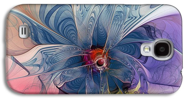 Mathematical Design Galaxy S4 Cases - Flower Power-Fractal Art Galaxy S4 Case by Karin Kuhlmann