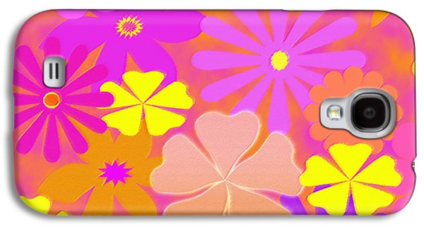 Abstract Digital Art Galaxy S4 Cases - Flower Power Pastels Design Galaxy S4 Case by Candy Frangella