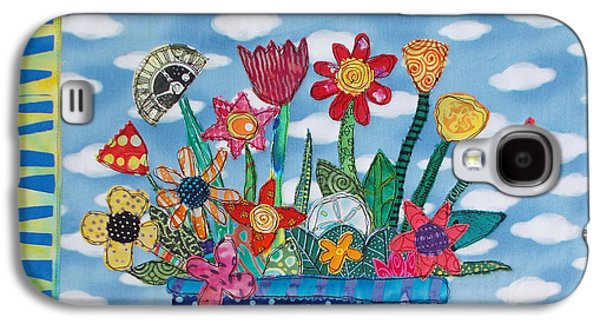 Colorful Abstract Tapestries - Textiles Galaxy S4 Cases - Flower Power Galaxy S4 Case by Susan Rienzo