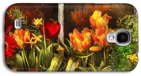 Garden Flowers Galaxy S4 Cases - Flower - Tulip - Tulips in a window Galaxy S4 Case by Mike Savad